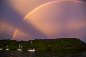Double Rainbow at Sunset, Mount Hartman Bay, Grenada